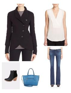 My go-to for the business casual is almost always a classic silk top paired with dark or medium wash bootcut jeans and a fitted blazer. Ankle boots and a vibrantly colored tote bag are the perfect add-ons for this ensemble. Jewelry is minimal but chic.