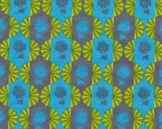 Patchworkstoff DOWRY, Rosen in Lampion-Streifen, blaugrau-türkisblau
