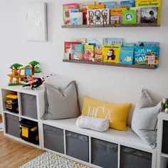 IKEA storage is king in this play room. The book rail displays colorful and beloved children's books in the kids' playroom. IKEA storage is king in this play room. The book rail displays colorful and beloved children's books in the kids' playroom. Room Ideas Bedroom, Boys Room Ideas, Kids Bedroom Storage, Book Storage Kids, Toddler Bedroom Ideas, Ikea Boys Bedroom, Ikea Toy Storage, Storage For Playroom, Ikea Childrens Storage