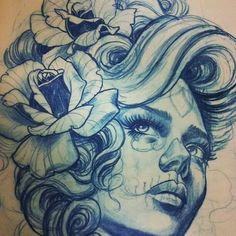 Woman with dia de los muertos makeup drawing / tattoo by Teniele Sadd More