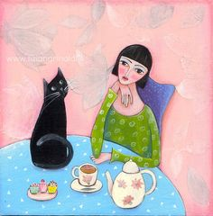 Sempre con te - Tiziana Rinaldi #cat #woman #teatime #painting #art #painting #art