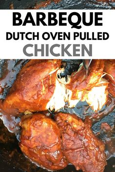 This is a simple recipe for pulled chicken - cooked over campfire in a dutch oven. Its the perfect recipe for dinner while camping. Serve it up on bread or with a salad. Campfire Dutch Oven Recipes, Dutch Oven Camping, Campfire Food, Dutch Oven Meals, Camp Oven Recipes, Recipes Dinner, Oven Cooking, Cooking Recipes, Fire Pit Cooking Grill