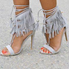 Stylish Discount Ankle Fringe Heels