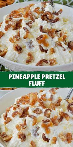 Pretzel Desserts, Fluff Desserts, Easy Desserts, Delicious Desserts, Yummy Food, Pretzel Recipes, Light Desserts, Yummy Yummy, Healthy Desserts
