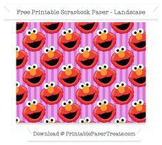 Free Landscape Orchid Striped Large Elmo Head Pattern Paper - Sesame Street