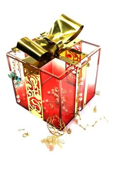 Present Box-acrylic dyeing/brass cutting/ribbon/jewel box/art nouveau pattern