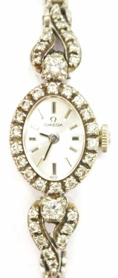 LADIES ESTATE 14K OMEGA DIAMOND DRESS WATCH 3CTTW