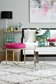 Pops of Pink and Green in Your Living Room