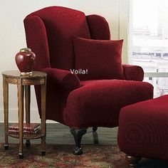 WING CHAIR Slipcover Stretch Pique Garnet Burgundy Sure Fit Wingback Chair  Slip Cover