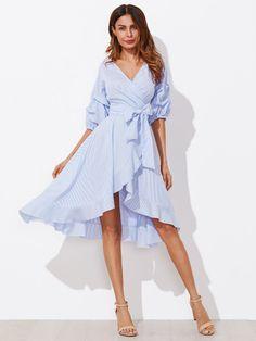 Dotfashion Gathered Sleeve Surplice Wrap Pinstripe Women Dress 2017 Half Sleeve A Line Ruffle Hem Dress Blue V Neck Dress Cap Dress, Maxi Wrap Dress, V Neck Dress, Ruffle Dress, Dress Up, Wrap Dresses, Ruffle Sleeve, Flutter Sleeve, Flare Dress