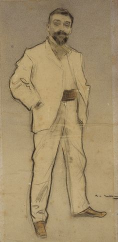 Portrait of Josep Cusachs (Ramon Casas y Carbó - ) Sketch Painting, Figure Painting, Figure Drawing, Sketchbook Drawings, Drawing Sketches, Art Drawings, Sketching, Fine Art Drawing, Guy Drawing