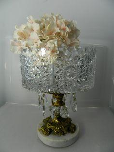 Vintage Cut Crystal Compote Pedestal Bowl by 3sisterstreasures, $69.00