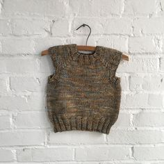 Handknit Toddler Sweater Vest in Earl Grey 12-24 by squarepegknits