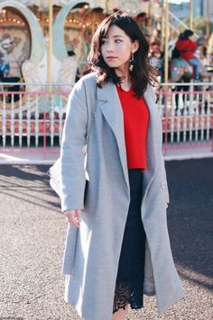 Japanese Fashion Blogger,Mizuho K,OOTD,ROPE_Red knit sweater,Sammy dress_navy skirt,Yoins_gold loafer,SheIn_gray gown coat,star earrings, not good outfit
