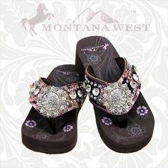 33517d94da3d Montana West Camo Floral Flip Flops Women Wedge Sole Sandals Bling Concho  Pink