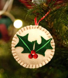 holly Christmas felt ornament