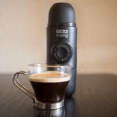 Minipresso hand-powered portable espresso maker makes a perfect espresso anywhere!  No electricity or batteries needed!  #espresso #portableespresso #espressomaker #espressomachine #espressoanywhere #minipresso #coffeemaker #portablecoffeemaker