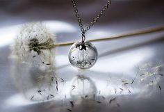 SIlver Dandelion Necklace Make A Wish Glass Bead Orb Dandelion Seed Transparent Round Beadwork Flower Botanical on Etsy, $28.00