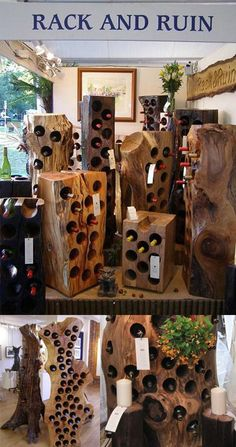 assorted Rack and Ruin event images is part of Wood wine racks - Wine Rack Design, Woodworking Projects, Diy Projects, Wood Wine Racks, Log Furniture, Natural Wood Furniture, Wine Bottle Holders, Into The Woods, Wood Creations