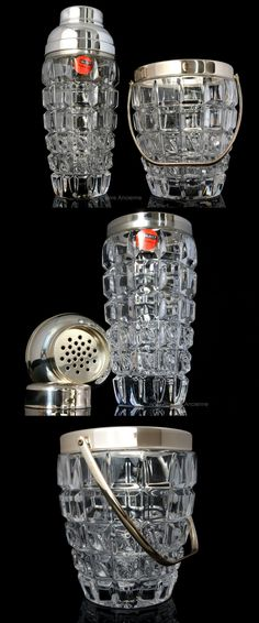 BUY on ETSY: 4.32 Lbs Cocktail Shaker & Ice Bucket Set, Crystal Cut Glass, Silver-plate Mounting