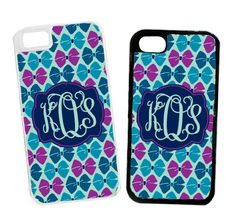 Monogrammed Mint Bows Cell Phone Case