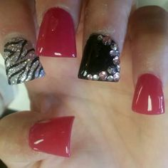 ♡ RED HOT ♡ - DUCK - ACRYLICS - FAKE NAILS - POLISHES - RHINESTONES - GLITTER - BLING - STONES - RED - BLACK - SILVER - ZEBRA - FLARETIPS ;'] ★ NAILS BY ROXEI VAN ★  FOLLOW && ADD ME [FACEBOOK. INSTAGRAM. TWITTER]