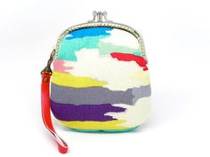 Over the rainbow double compartments clutch purse with hand strap