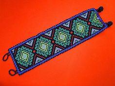 """Pulseira Huichol Frisado PEIOTE Arte Folclórica Mexicano Multicolorido Feito À Mão Longo 9.5"""""""