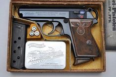 A Nazi Party Leader Walther PPK in its factory box Walther Pp, Ww2 Weapons, Rifles, Pocket Pistol, Shooting Guns, Fire Powers, Cool Guns, Guns And Ammo, Self Defense