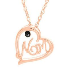 Black Diamond Sterling Mom Heart Pendant w/ Chain For Mother's Day $1200 New