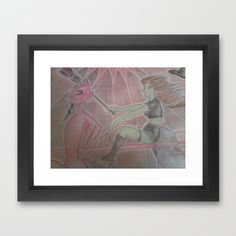 rED dEVIL & gREEN wITCH Framed Art Print by Kathead Tarot - $40.00