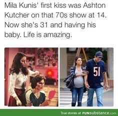 Mila Kunis & Ashton Kutcher - then and now