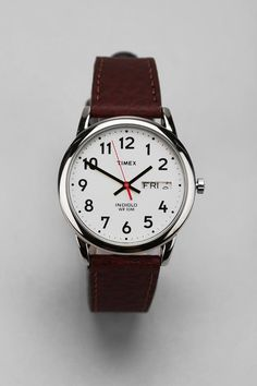 {men's watches at urban} Timex Brown Leather Easy Reader Watch Timex Indiglo, Easy Reader, Timex Watches, Men's Watches, Brown Leather Watch, Luxury Watches For Men, Unisex, Cool Watches, Simple Watches