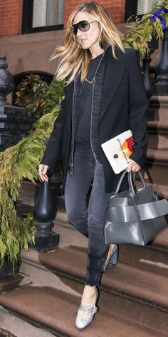 Sarah Jessica Parker knows how to turn even the most casual outfits into a glamorous moment. During her latest sighting, she took an all-black look to the next level with glitter pumps.