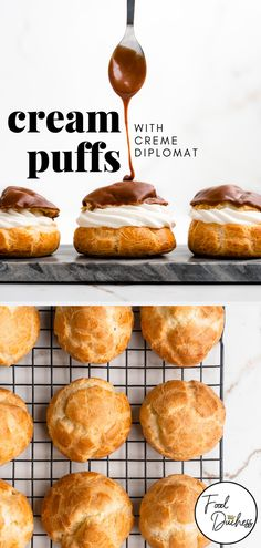 creme puff These cream puffs are filled with Crme diplomat which is traditional pastry cream that is lightened by folding in whipped cream. Crme diplomat provides the best of both worlds of Vanilla Recipes, Cream Recipes, Classic Cream Puff Recipe, Vegan Cream Puff Recipe, Delicious Chocolate, Chocolate Recipes, Köstliche Desserts, Dessert Recipes, Plated Desserts