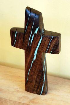 Walnut Standing Cross with Turquoise Inlay 8x3  by BlackFacedSheep