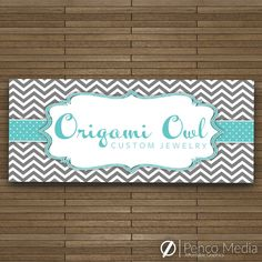 Origami Owl Jewelry Banner Design! Great for Events! Chevron! Direct Selling! Instant Download! (2.5' x 6' Banner Design) (16.53 USD) by PencoMedia