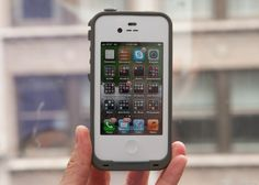 LifeProof case for iPhone 4/4S can go up to 2 meters under water and its not just waterproof but all so dirtproof, snowproof and shockproof. the case can also withstand a drop of 2 meters (6.6 feet). This case is much better than any other iphone cases on the market and cost starts at $59.23.