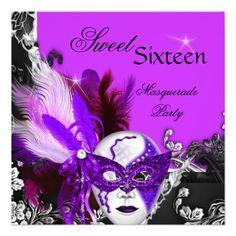 Masquerade Sweet 16 Sixteen Purple Mask Party Custom Invitation Invitations by zizzago.com