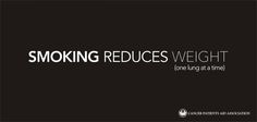 Smoking reduces weight (one lung at a time) - Cancer Patients Aid Association