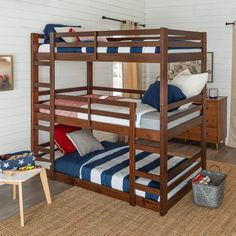Free shipping on orders of $35+ from Target. Read reviews and buy Solid Wood Triple Bunk Bed Walnut - Saracina Home at Target. Get it today with Same Day Delivery, Order Pickup or Drive Up. Low Bunk Beds, Triple Bunk Beds, Kids Bedroom, Bedroom Decor, Bedroom Furniture, Bedroom Sets, Furniture Ideas, Modern Furniture, Furniture Design