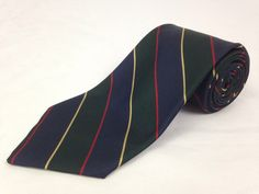 BROOKS BROTHERS 57L Mens Neck Tie Makers Green Blue Red Yellow Striped 100% Silk #BrooksBrothers #NeckTie #Ties