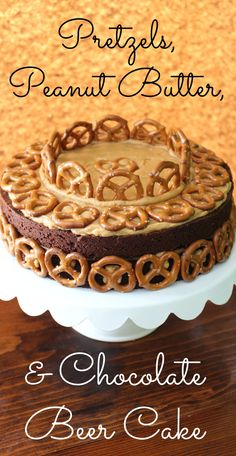 This rich combination of chocolate stout brownie cake with peanut butter frosting and pretzel crunch will knock your socks off.