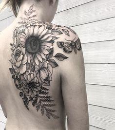 , # # back tattoo back tattoos tattoo # Sunflower Tattoo Sleeve, Sunflower Tattoo Shoulder, Sunflower Tattoos, Flower Sleeve, Back Tattoo Women Upper, Upper Back Tattoos, Cover Up Back Tattoos, Sexy Tattoos, Body Art Tattoos