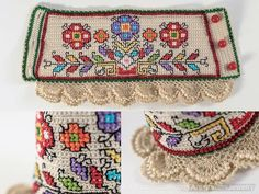 Tina's handicraft : 145 embroidery technical for beginners - Crochet Cross Stitch Embroidery, Embroidery Patterns, Machine Embroidery, Crochet Patterns, Diy Bracelets Easy, Embroidery Bracelets, Ribbon Design, Crochet Bracelet, Freeform Crochet