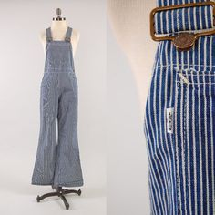 RARE Vintage 70s hickory stripe LEVIS bellbottom overalls / Engineer railroad overalls / 28 waist 31 inseam. RARE Vintage 70s hickory stripe LEVIS by digvintageclothing