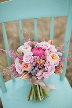 #flower #pink #peony HGEBouquet! I love the colored chair and the flowers are gorgeous!