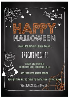 Blackboard Halloween - Halloween invitations from only $1 each! Visit Paper Divas to personalise your own unique party invitations now!