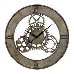 Sterling Industrial Cog Wall Clock By. Reminiscent of a mechanical age, this Industrial Cog Wall Clock by Sterling is stunning. The industrial style with exposed non-moving mechanical gears add to its Industrial Clocks, Industrial Style, Industrial Design, Antique Clocks, Industrial Homes, Rustic Clocks, Warm Industrial, Industrial Living, Industrial Furniture