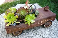 Vintage Pedal Fire Engine ~ Use old toys for plantings ~ Cool garden-art